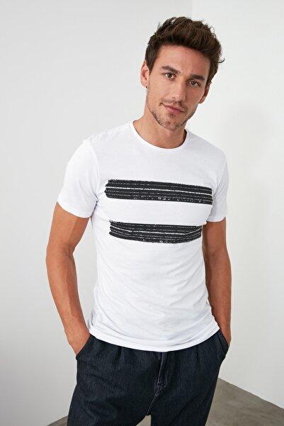 Beyaz Erkek Baskılı Slim Fit T-Shirt TMNSS20TS0092