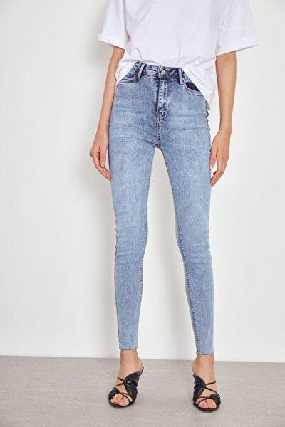 Kadın Mavi Yüksek Bel Skinny Jeans Kot Pantolon