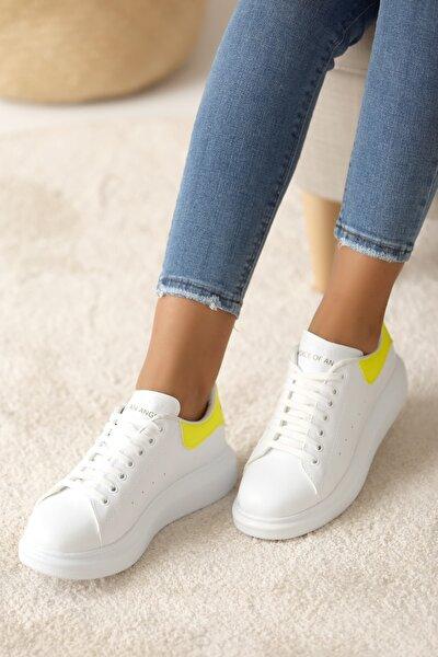 Kadın Beyaz Sarı Casual Ayakkabı