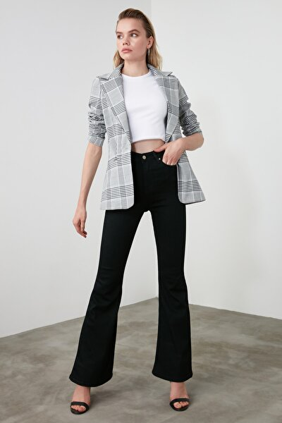 Siyah Yüksek Bel Flare Jeans TWOAW21JE0247