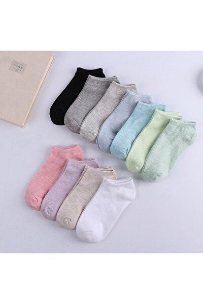 10 Çift Koton Ekonomik Karışık Renk Kadın Patik Çorap