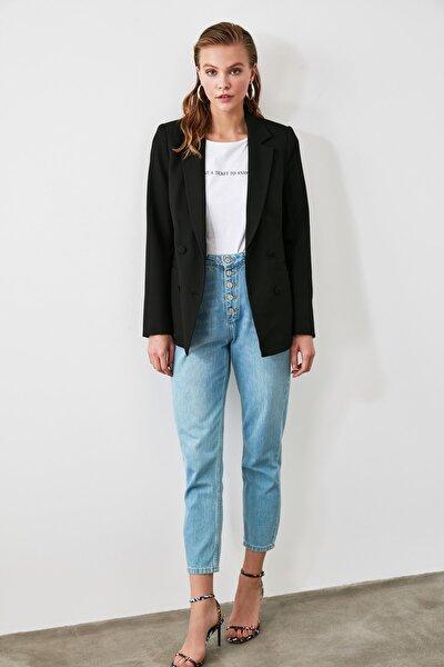 Siyah Cep Detaylı Blazer Ceket TWOAW20CE0051