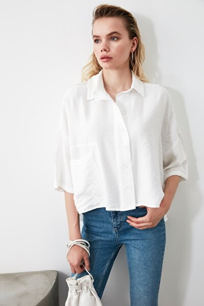 Beyaz Bol Kesim Gömlek TWOSS20GO0381