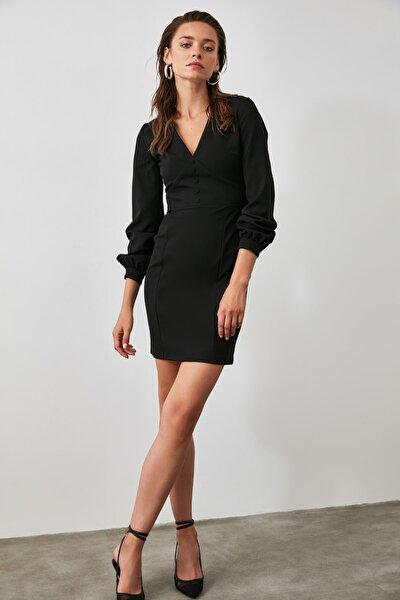 Siyah Düğme Detaylı Elbise TWOAW21EL0731