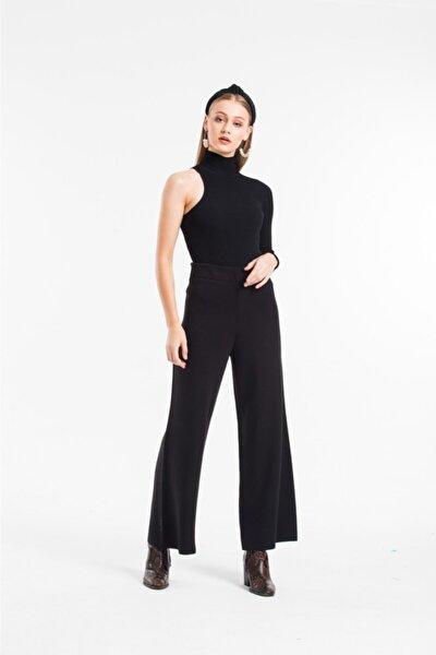 Kadın Siyah Genç Triko Örme Yünlü Pantalon