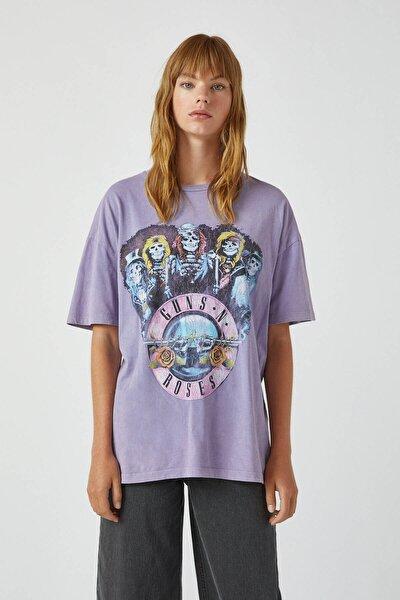 Kadın Lila Lila Guns N' Roses T-Shirt 09244387