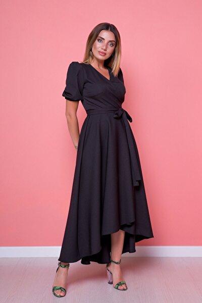 Kadın Siyah Asimetrik Kesim Elbise
