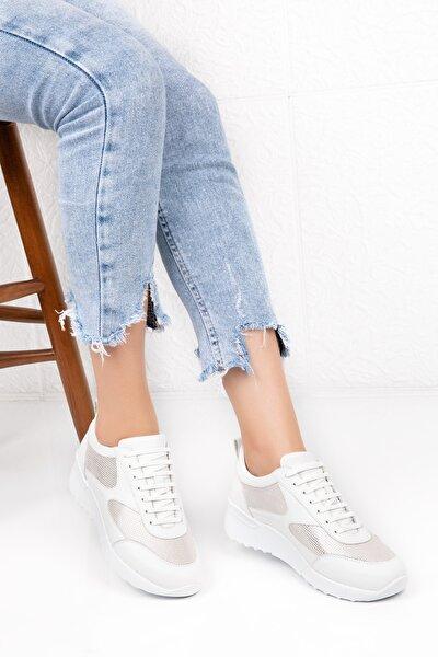 Kadın Beyaz Deri Anatomik Taban Spor Ayakkabı