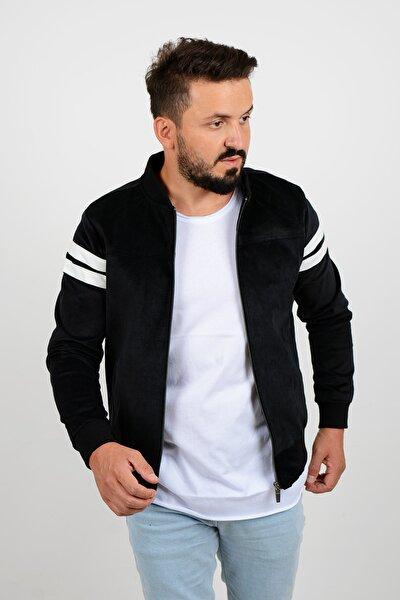 Kolları Şeritli Kadife Slim Fit Mevsimlik Ceket Siyah