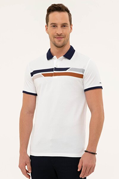 Erkek Beyaz Regular Fit Polo Yaka T-Shirt