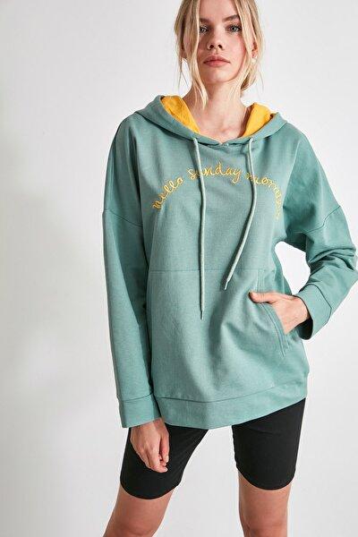 Mint Nakışlı Örme Sweatshirt THMAW21SW0904