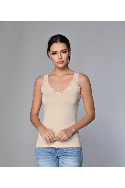 Kadın 2'li Likralı Dantelli Bluz