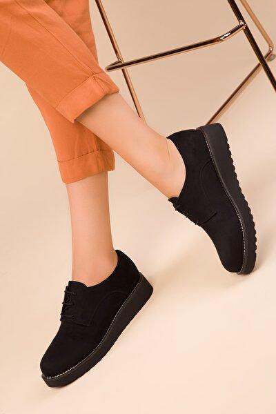 Siyah Süet Kadın Casual Ayakkabı 15261
