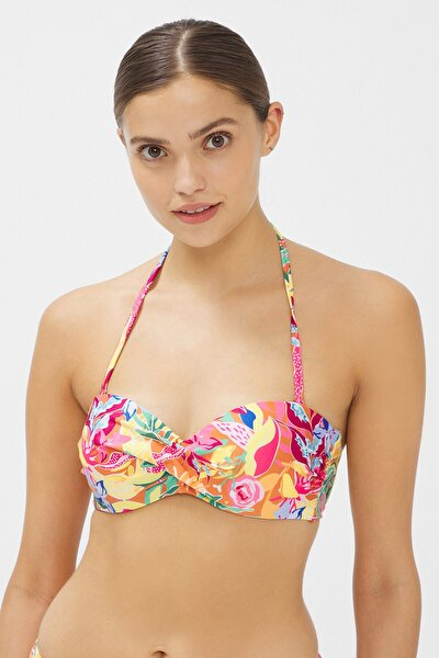Kadın Çok Renkli Flory Straplez Cup Bikini Üstü