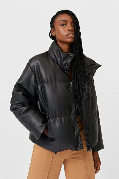 Kadın Siyah Suni Deri Şişme Mont 05742420