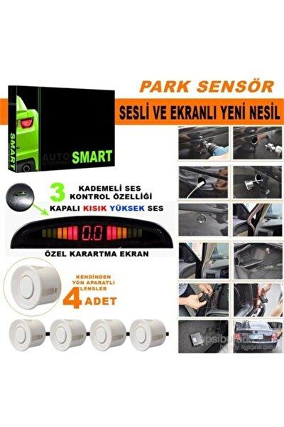 Park Sensörü Ses Kontrol Düğmeli Ekranlı Beyaz Lensli