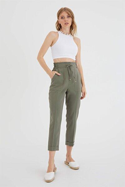 Kadın Haki Bağcıklı Pantolon