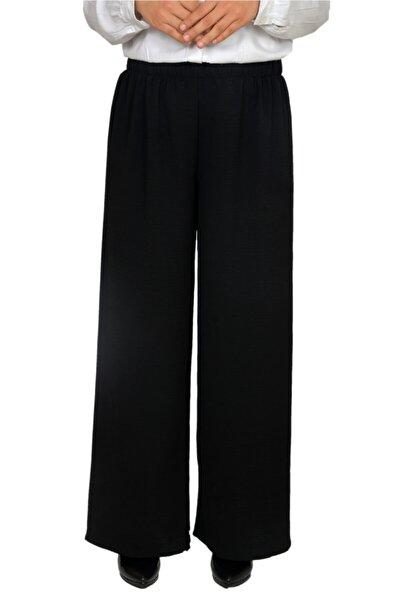 Kadın Siyah Bol Paça Pantolon