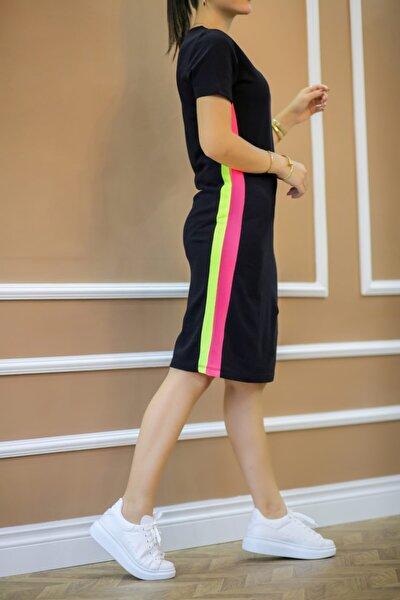 Kadın Siyah Neon Çizgili Elbise