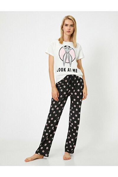 Kadın Lacivert Pamuklu Bugs Bunny Pijama Takımı