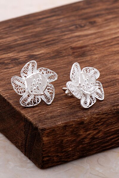 Telkari Işlemeli Gümüş Çiçekli Küpe 5004