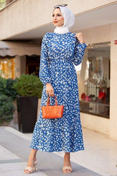 5007-1 Papatya Desen Tesettür Elbise - Mavi