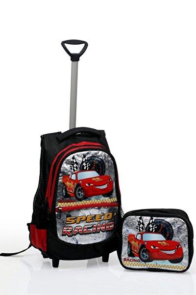 Anaokulu Ilkokul Çekçekli Sırt Çantası Ortopedik Yarış Arabası Beslenme Çanta 5 6 7 Yaş Su Geçirmez