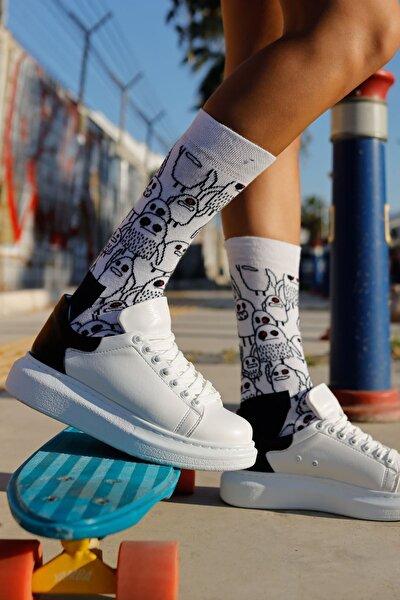 Kadın Beyaz / Siyah Ayakkabı  Ch256 Bt