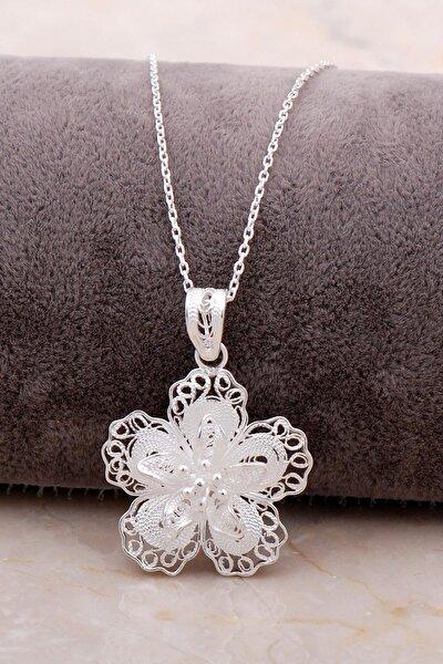 Telkari Işlemeli Gümüş Çiçekli Kolye 6868