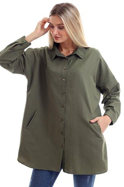 Kadın Haki Salaş Cepli Uzun Kollu Düz Gömlek