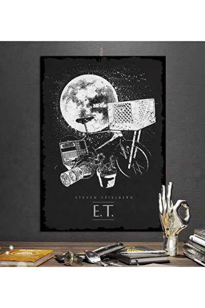 E.t Efsane Film Tasarım 35x50cm Hediyelik Dekoratif 8mm Ahşap Tablo