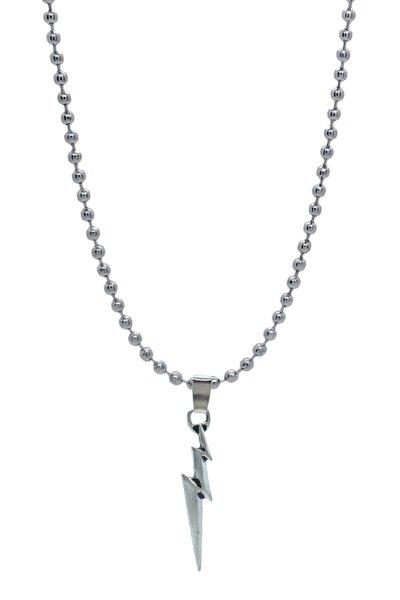 Şimşek Figür Uçlu Kolye - Top Zincirli Gümüş Kaplama