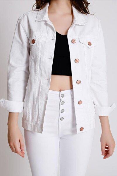Kadın Beyaz Boyfriend Ceket