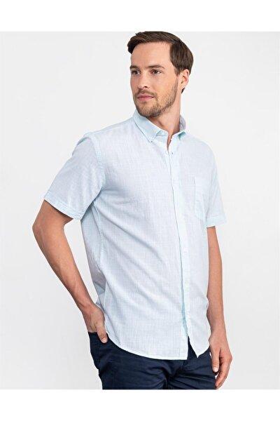 Klasik Fit Kısa Kol Keten Gömlek