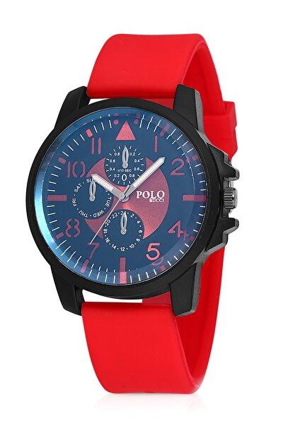 Erkek Kırmızı Silikon Kordon Kol Saati