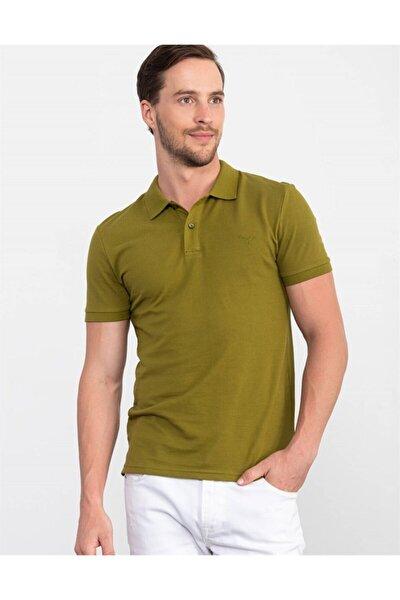 Erkek Yeşil Slim Fit Polo Yaka T-Shirt