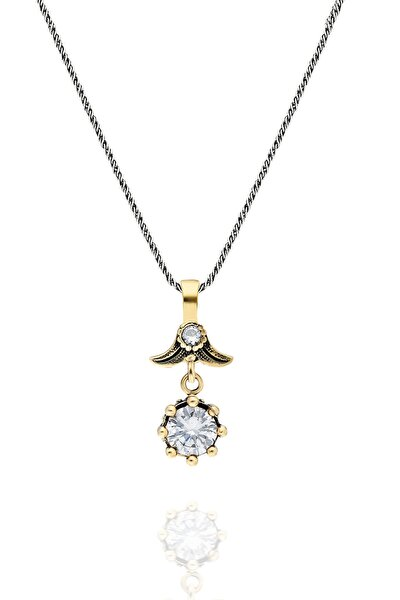 Kadın Zirkon Taşlı Çiçek Modeli Otantik Gümüş Kolye