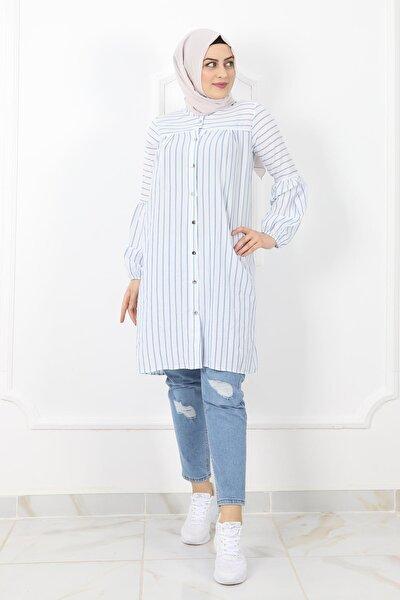 3403 Bayan Çizgili Gömlek Tunik - Mavi