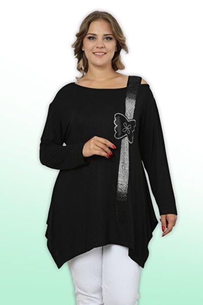 Kadın Siyah Taş Işlemeli Omuz Detaylı Viskon Likralı Bluz