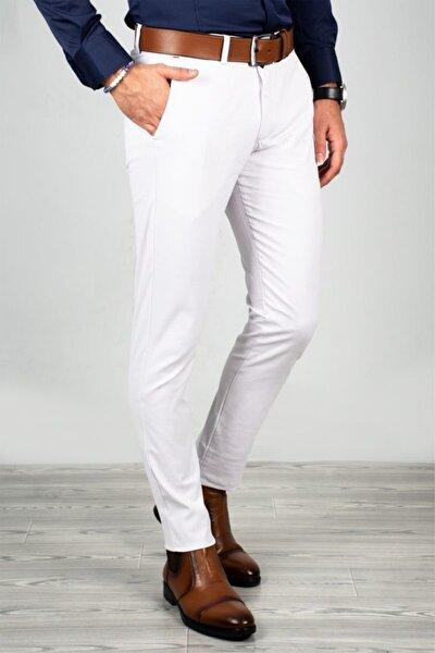 Erkek Beyaz Nokta Desenli Spor Pantolon