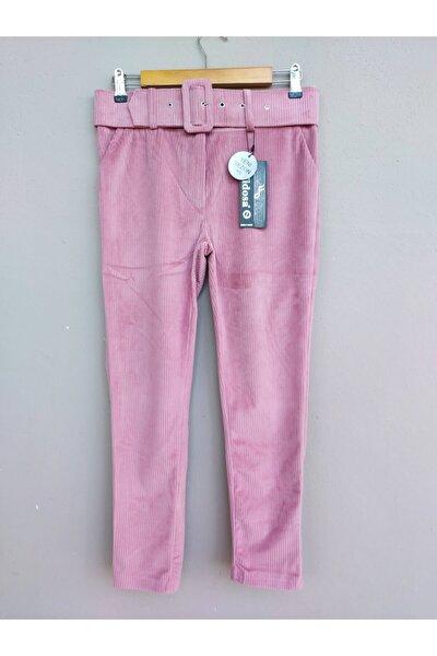 Kadın Pembe Kalın Kemer Detaylı Dar Paça Normal Bel Kadife Pantolon