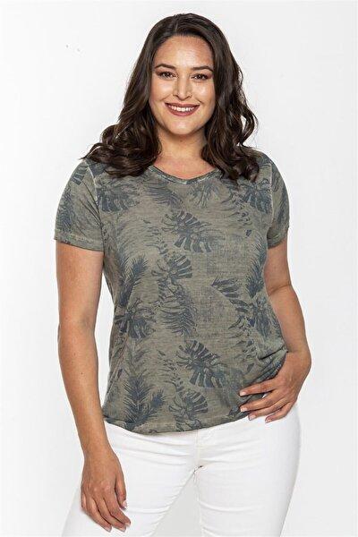 Kadın Yeşil Büyük Beden T-shirt