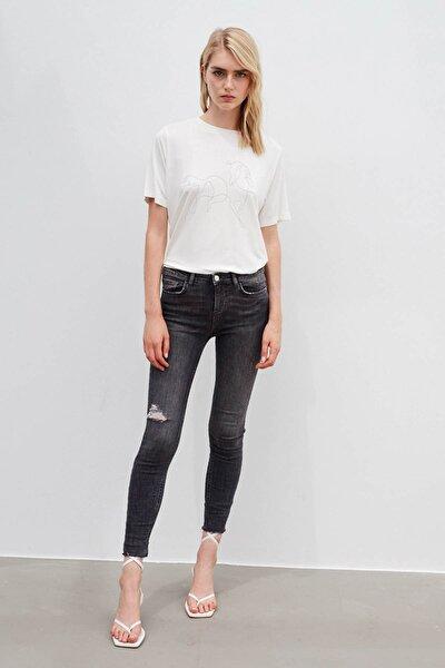 Kadın Gri Skinny Fit Jean Pantolon