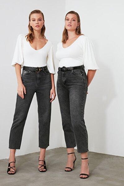 Antrasit Yüksek Bel Straight Jeans TWOAW21JE0079