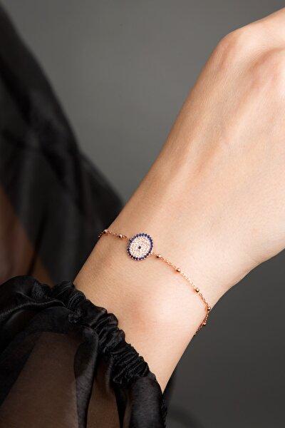 Kadın Nazar Model Rose Kaplama 925 Ayar Gümüş Bileklik