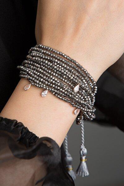 Kadın Damla Model Çoklu Kristal 925 Ayar Gümüş Bileklik