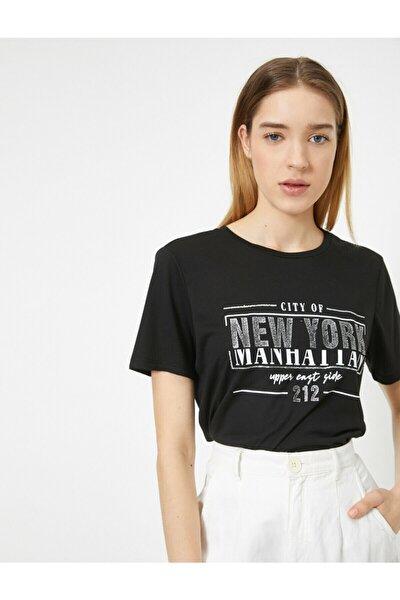 Kadın Siyah Yazili Baskili T-shirt