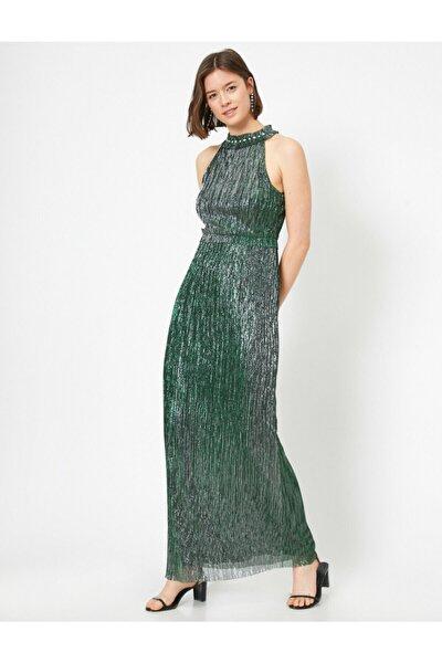Kadın Metalik Elbise Abiye Tül Firfir Ve Tas Detayli Halter Yaka Uzun Abiye