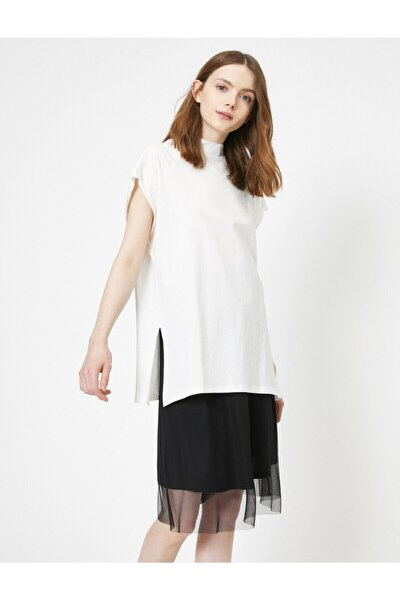 Kadın Beyaz Bisiklet Yaka T-Shirt