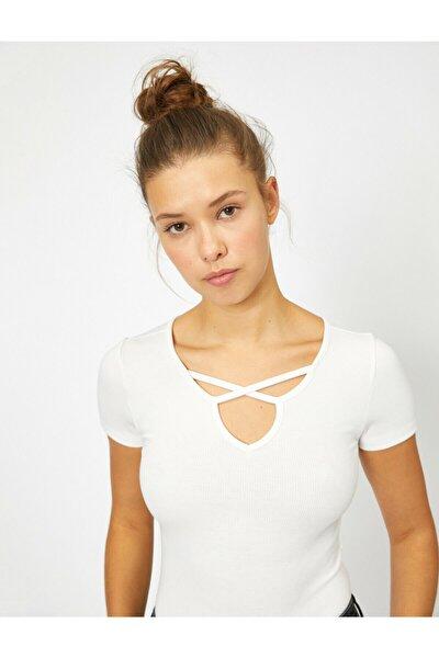 Kadın Beyaz Yaka Detayli T-Shirt 0YAL18994IK